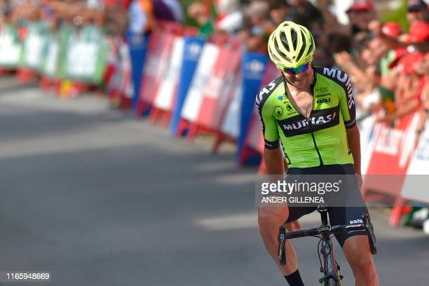Team Euskadi Basque Country Murias rider Spain's Mikel Iturria crosses the finish line of the eleventh stage of the 2019 La Vuelta cycling Tour of...