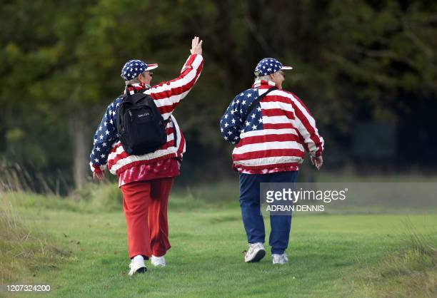 US team fans walk through the rough during the foursomes matches during day one of The Solheim Cup at Killeen Castle in Dunsany near Dublin Ireland...