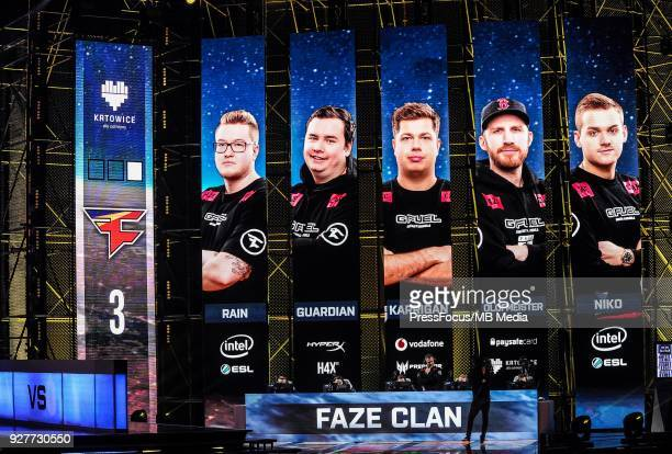 Team Faze Clean during CounterStrike Global Offensive final game between FaZe Clan and Fnatic on March 4 2018 in Katowice Poland