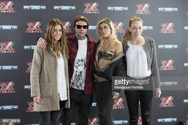Team Fedez Fedez Gaia Gozzi Roshelle e Caterina Cropelli during the press conference of presentation of the first live episode of the talent show X...