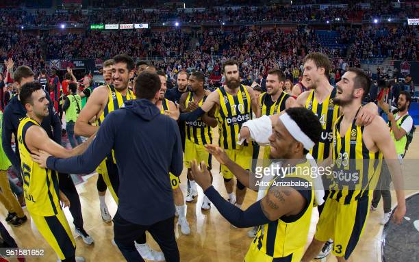Team Fenerbahce Dogus Istanbul celebrate after the Turkish Airlines Euroleague Play Offs Game 4 between Kirolbet Baskonia Vitoria Gasteiz v...