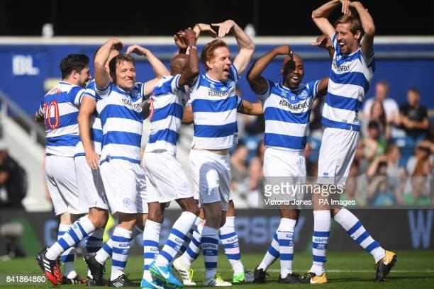 Team Ferdinand's Captain Marcus Mumford, Ben Shephard, Sir Mo Farah, Damian Lewis, DJ Spoony and Peter Crouch celebrate after Sir Mo Farah scores the...