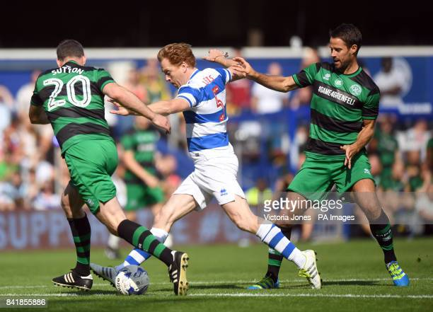 Team Ferdinand's Damian Lewis , Team Shearer's Chris Sutton and Jamie Redknapp battle for the ball during Game4Grenfell, a charity football match to...