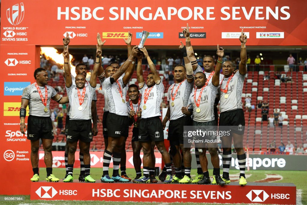 Team Fiji wins the 2018 Singapore Sevens Cup Final after defeating Australia at National Stadium on April 29, 2018 in Singapore.