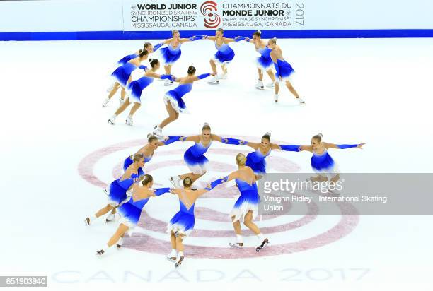 Team Finland 1 perform in the Short Program during the ISU World Junior Synchronized Skating Championships at Hershey Centre on March 10 2017 in...