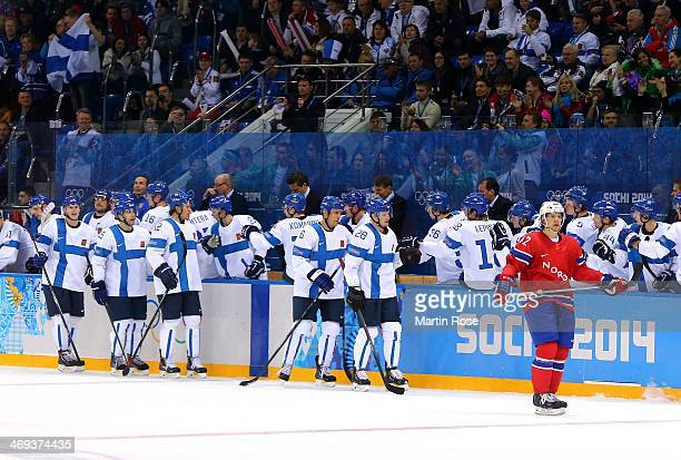 Team Finland celebrate after a goal in the second period against Norway during the Men's Ice Hockey Preliminary Round Group B game on day seven of...