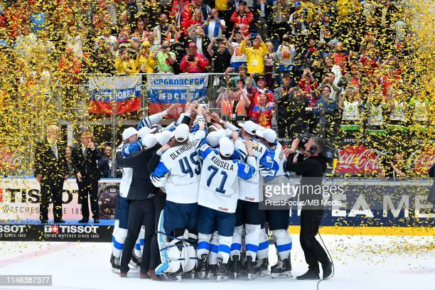 Team Finland celebrate winning World Championship after the 2019 IIHF Ice Hockey World Championship Slovakia final game between Canada and Finland at...
