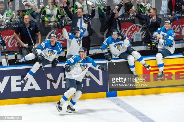 Team Finland celebrates the win during the 2019 IIHF Ice Hockey World Championship Slovakia final game between Canada and Finland at Ondrej Nepela...