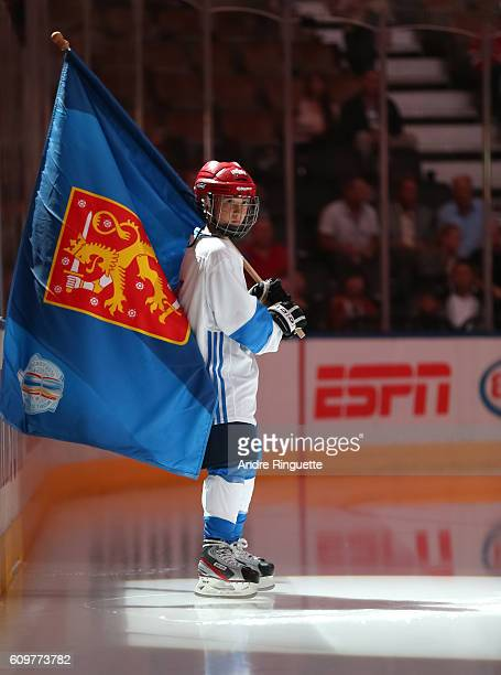 Team Finland welcomes Team Finland prior to the game against Team Russia during the World Cup of Hockey 2016 at Air Canada Centre on September 22...