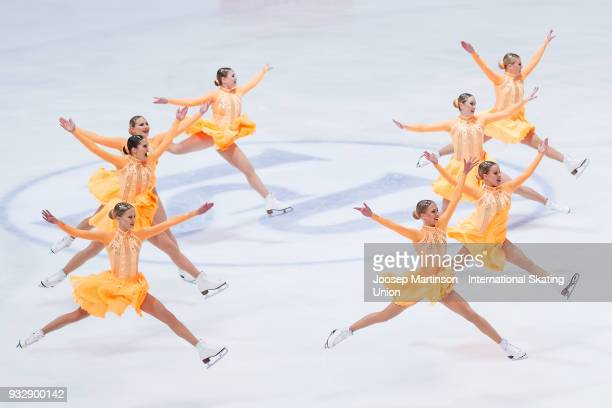 Team Fintastic Junior of Finland compete in the Short Program during the World Junior Synchronized Skating Championships at Dom Sportova on March 16...