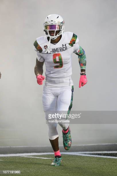 Team Flash defensive back Brandon Turnage during player introductions before the 2019 Under Armour AllAmerica Game between Team Ballaholics and Team...