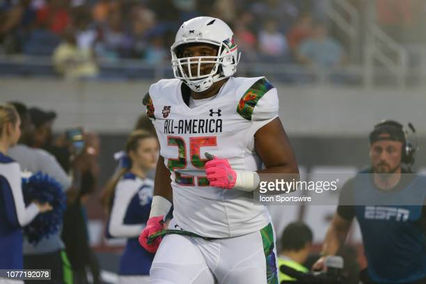 Team Flash defensive end Savion Jackson during player introductions before the 2019 Under Armour AllAmerica Game between Team Ballaholics and Team...