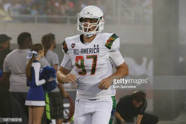 Team Flash long snapper Brady Weeks during player introductions before the 2019 Under Armour AllAmerica Game between Team Ballaholics and Team Flash...