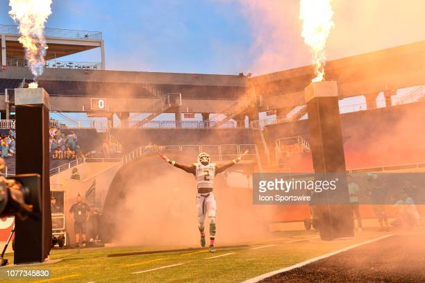 Team Flash wide receiver George Pickens is introduced during the Under Armour AllAmerica Game between Team Flash and Team Ballaholics on January 03...