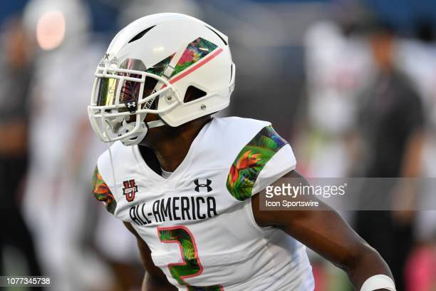 Team Flash wide receiver George Pickens prior to the Under Armour AllAmerica Game between Team Flash and Team Ballaholics on January 03 at Camping...