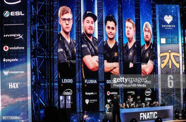 Team Fnatic during CounterStrike Global Offensive final game between FaZe Clan and Fnatic on March 4 2018 in Katowice Poland