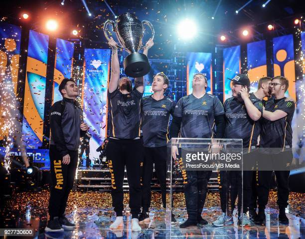 Team Fnatic lift winners' cup after CounterStrike Global Offensive final game between FaZe Clan and Fnatic on March 4 2018 in Katowice Poland