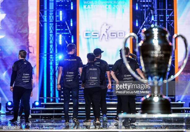 Team Fnatic walks off the stage after winning CounterStrike Global Offensive final game between FaZe Clan and Fnatic on March 4 2018 in Katowice...