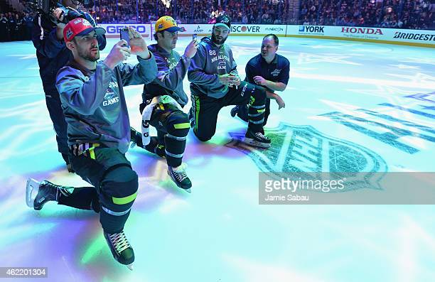 Team Foligno's Nick Foligno of the Columbus Blue Jackets, Kevin Shattenkirk of the St. Louis Blues and Brent Burns of the San Jose Sharks watch...