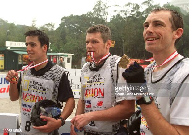 Team Ford NoBoundaries Daniel Brown Frederic Bourquin and Pedro Pinto Ribeiro who win National Geographic Action Asia Challenge HK 2002 Men's overall...