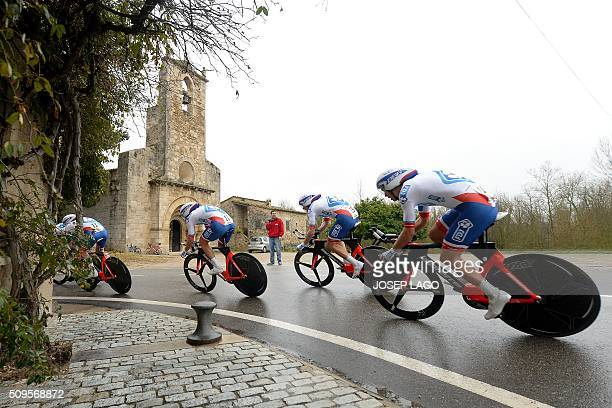 """Team Francaise des Jeux ride during the Team Time Trial on day one of the tour of """"La Mediterraneenne"""" on February 11, 2016 in Banyoles. / AFP /..."""