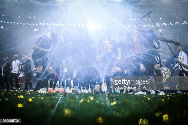 Team France celebrate after winning the 2018 FIFA World Cup Russia Final between France and Croatia at Luzhniki Stadium on July 15 2018 in Moscow...