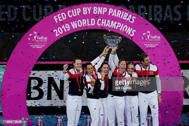 Team France celebrate after winning the 2019 Fed Cup Final tie between Australia and France at RAC Arena on November 10 2019 in Perth Australia
