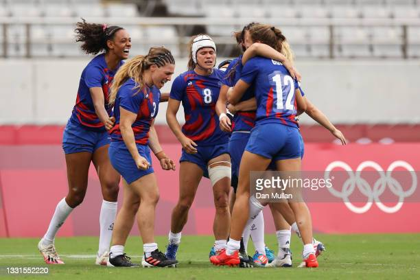 Team France celebrate defeating Team Great Britain in the Women's Semi Final match between Team Great Britain and Team France during the Rugby Sevens...
