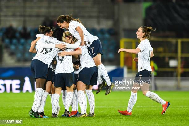 Team France celebrate her goal during the International Women's Friendly match between France and Denmark at La Meinau Stadium on April 8 2019 in...