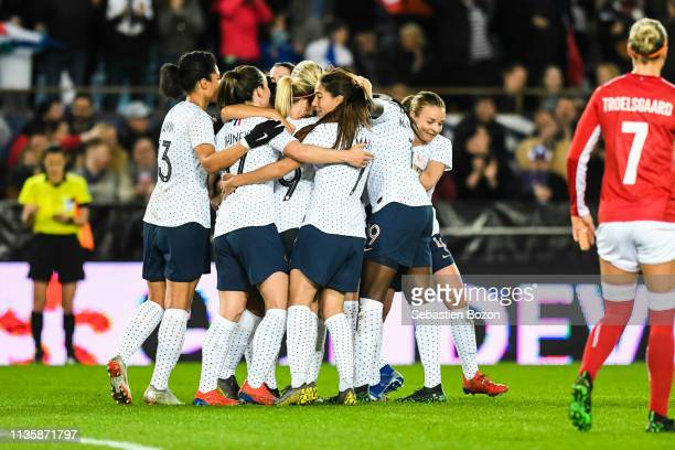Team France celebrate his goal during the International Women's Friendly match between France and Denmark at La Meinau Stadium on April 8 2019 in...