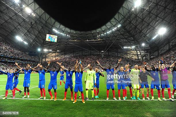 Team France celebrate his victory during the Uefa Euro Semi final between France and Germany at Stade Velodrome on July 7 2016 in Marseille France