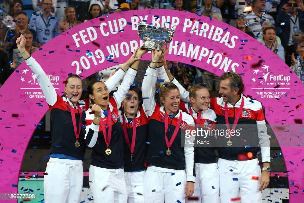 Team France celebrate winning the Fed Cup in the 2019 Fed Cup Final tie between Australia and France at RAC Arena on November 10 2019 in Perth...