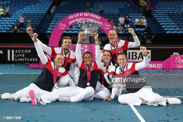 Team France celebrate winning the Fed Cup in the 2019 Fed Cup Final tie between Australia and France at RAC Arena on November 10, 2019 in Perth,...