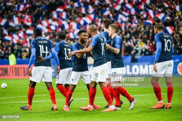 Team France celebrates a goal during the International friendly match between France and Colombia on March 23 2018 in Paris France