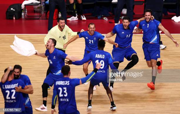 Team France celebrates defeating Team Denmark 25-23 to win the gold medal in Men's Handball on day fifteen of the Tokyo 2020 Olympic Games at Yoyogi...