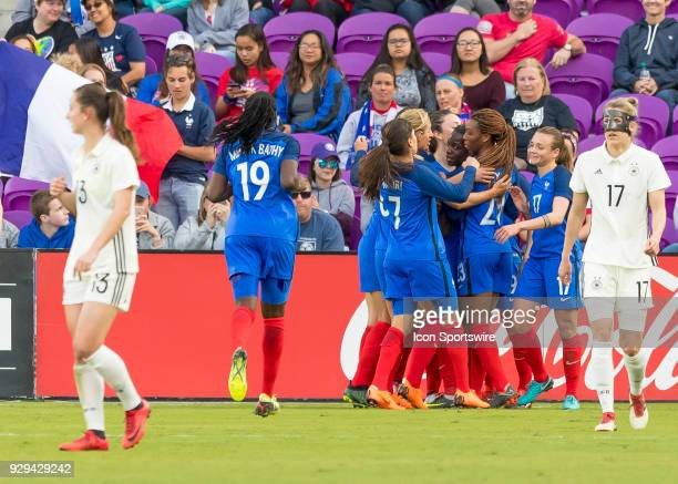 Team France celebrates there first goal of the match during the SheBelieves Cup between Germany and France on March 7th 2017 at Orlando City Stadium...