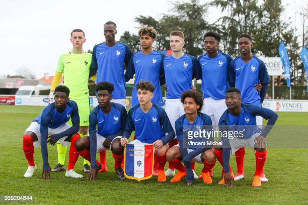 Team France during the Mondial Montaigu match between France U16 and Portugal U16 on March 27 2018 in Montaigu France Thomas Roche Chrislain Matsima...