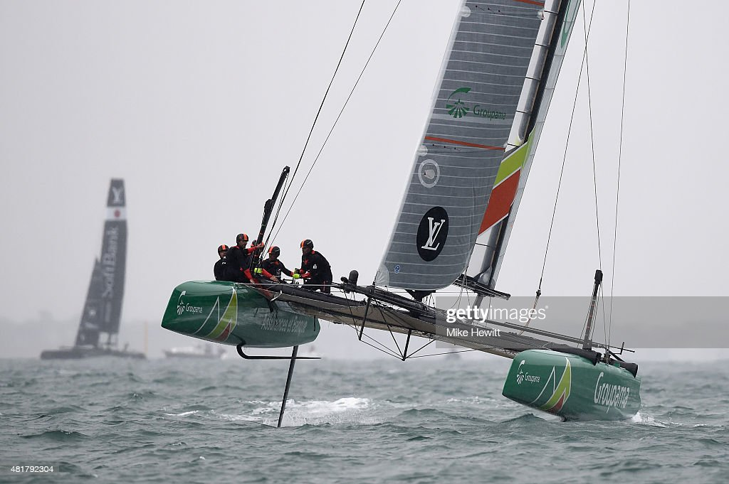 Team France in action during a trial race on Day Two of the Louis Vuitton America's Cup World Series on July 24, 2015 in Portsmouth, England.