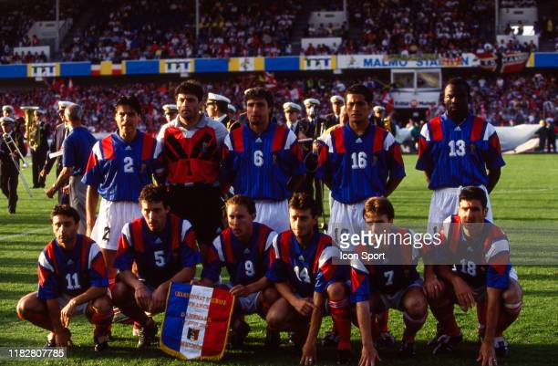 Team France lineup during the European Championship match between Denmark and France at Malmo Stadion Malmo Sweden on 17th June 1992 Manuel Amoros...