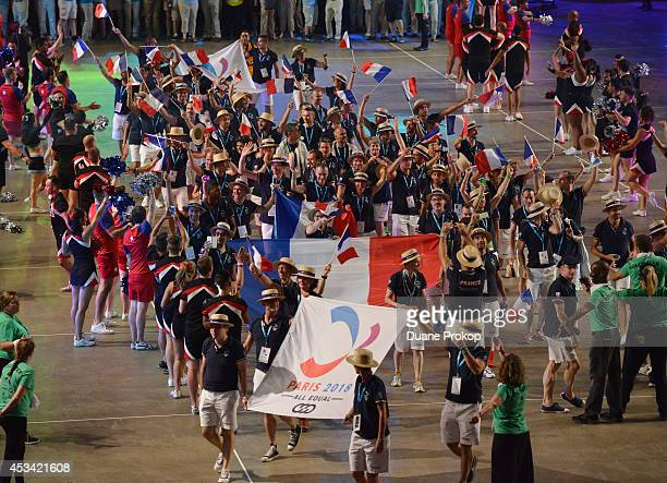 Team France march during the opening ceremony of the Gay Games 2014>> at Quicken Loans Arena on August 9 2014 in Cleveland Ohio