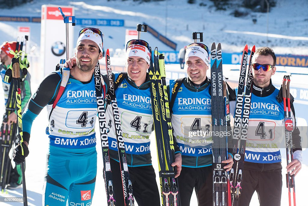 Team France on podium celebrating their first place at the... : News Photo
