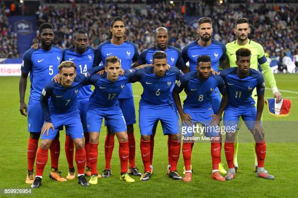 Team France pose before the FIFA 2018 World Cup Qualifier between France and Belarus at Stade de France on October 10 2017 in Paris