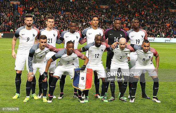 Team France pose before the international friendly match between Netherlands and France at the Amsterdam Arena on March 25 2016 in Amsterdam...
