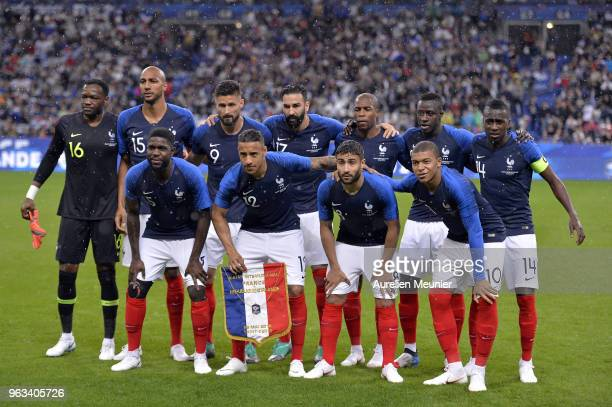 Team France pose before the National Anthem before the international friendly match between France and Republic of Ireland at Stade de France on May...