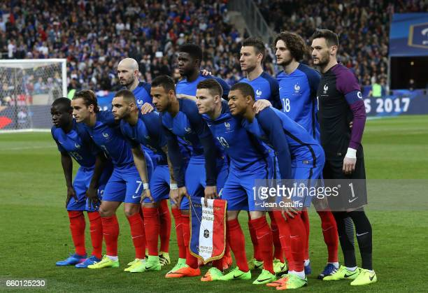 Team France poses before the international friendly match between France and Spain between France and Spain at Stade de France on March 28 2017 in...