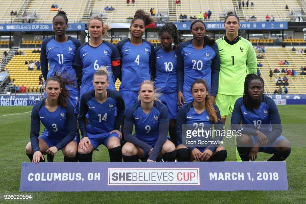 Team France poses for a team shot before an international game between England and France women's national teams on March 01 2018 at Mapfre Stadium...