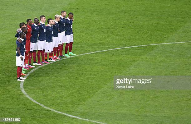 Team France respect one minute of silence before the International Friendly games between France and Brazil at Stade de France on march 26 2015 in...