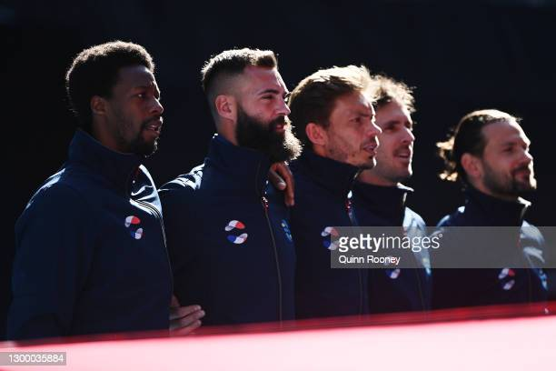 Team France sing the national anthem before the Group C singles match between FabioFognini of Italy and BenoitPaire of France during day two of the...