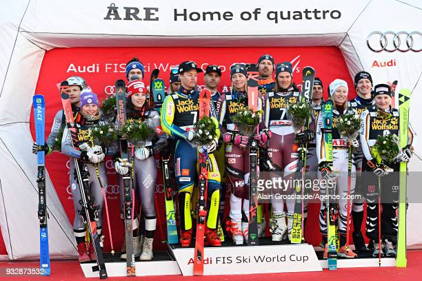 Team France takes 2nd place team Sweden takes 1st place team Germany takes 3rd place during the Audi FIS Alpine Ski World Cup Finals Men's and...