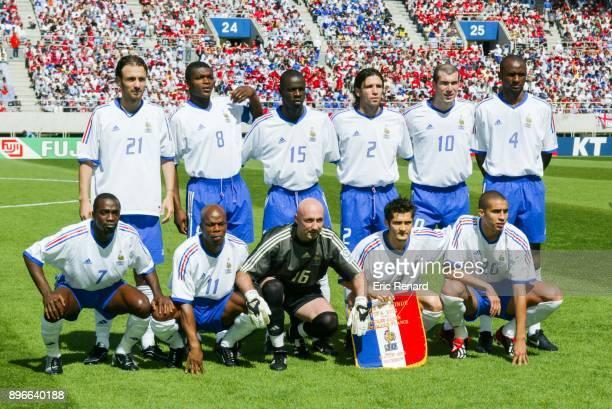 Christophe Dugarry Marcel Desailly Lilian Thuram Vincent Candela Zinedine Zidane and Patrick Viera Down LR Claude Makelele Sylvain Wiltord Fabien...